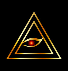 all seeing eye illuminati in gold vector image