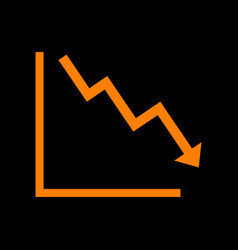 arrow pointing downwards showing crisis orange vector image