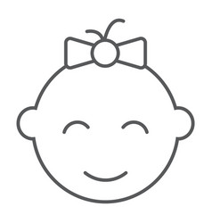 baby girl thin line icon kid and child vector image