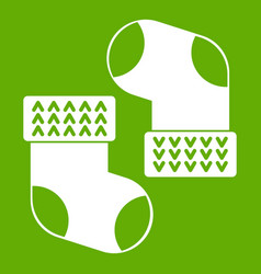 baby socks icon green vector image