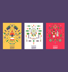 Banner with symbols native american culture vector