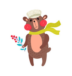 Bear in winter for baby tee print vector