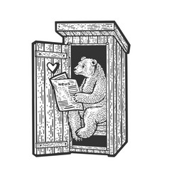 Bear reading newspaper in toilet sketch vector