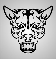 Big Cat Face Tribal vector image