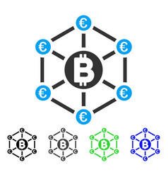 Bitcoin euro network flat icon vector