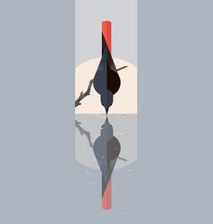 black redstart water vector image