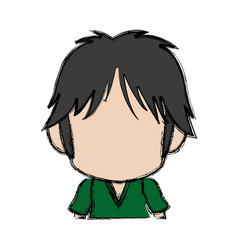 Blurred thin silhouette of anime little boy vector