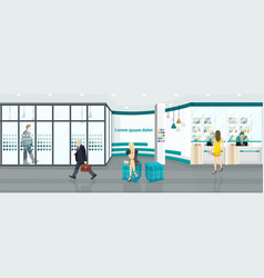 business center background people walking or vector image