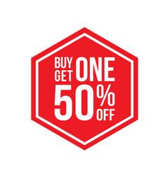 Buy one get one 50 off sign hexagon vector