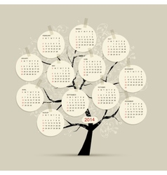 Calendar tree 2014 for your design vector image vector image