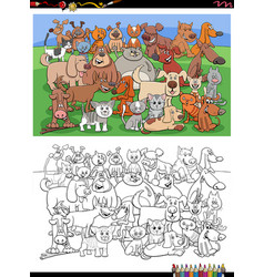 cartoon funny cats and dogs group coloring book vector image