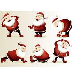 Cartoon santa claus gymnastics vector