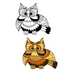 Cartoon striped owl with flapping wings vector