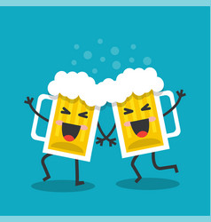cheerful and happy mugs with beer vector image