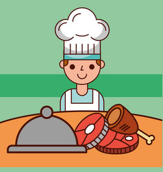 Chef boy cartoon and food service meat fish vector