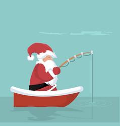 Christmas card of santa claus fishing in his boat vector