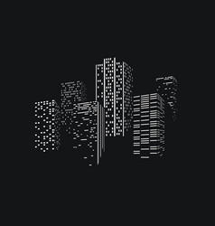 City skyscrappers skyline silhouette on dark back vector