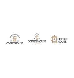 coffee shop logo emblem vintage set vector image