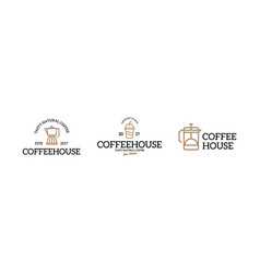 Coffee shop logo emblem vintage set vector