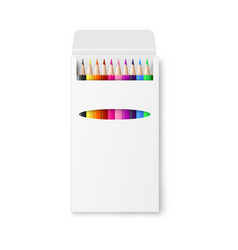 color pencils in blank package realistic mockup vector image