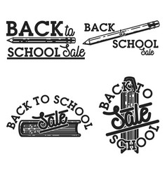 Color vintage back to school sale emblems vector