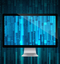 computer with matrix background vector image