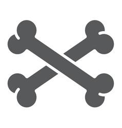 cross bone glyph icon halloween and danger vector image