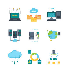 Data center icon cloud technology security vector