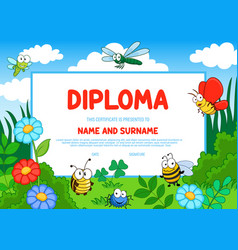 education diploma kindergarten certificate insects vector image