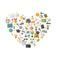 educationknowledge icon set in heart symbol vector image