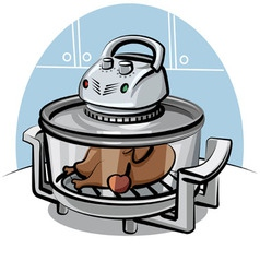 Electric grill with roasted chicken vector