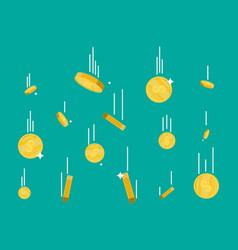 Falling gold coins money rain vector