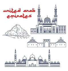 Famous tourist attractions of UAE thin line icons vector
