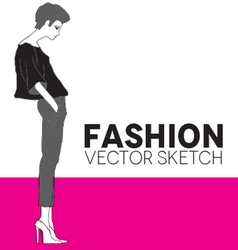 fashion model in gray leggings vector image