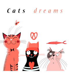 Graphic of cute dream cats vector