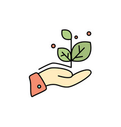 growth grow hand success flat color icon icon vector image