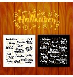 Halloween Lettering Postcards vector