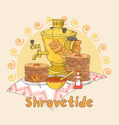 hand drawn shrovetide or maslenitsa gift card vector image