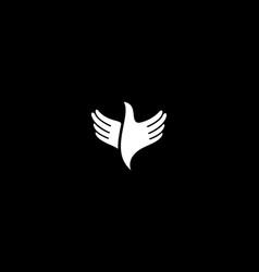 hands bird logo design fingers wings dove freedom vector image