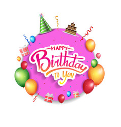 Happy birthday design with purple circle and vector