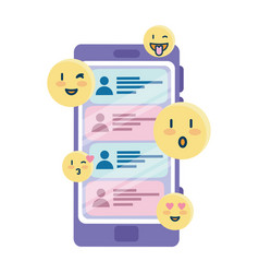 Happy emojis and chats on smartphone design vector