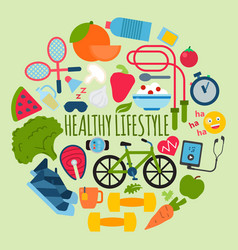 Healthy lifestyle concept round pattern vector