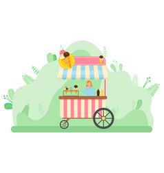 Ice cream kiosk shop in park spring market vector