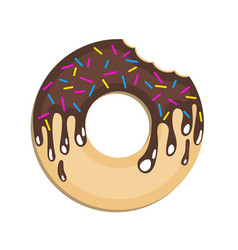 Image of a donut on a colored background flat vector