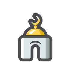islamic white mosque icon cartoon vector image