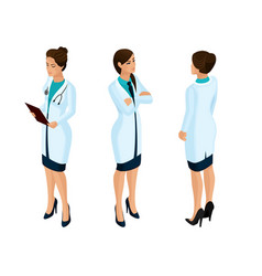 isometrics of a woman medical workers vector image