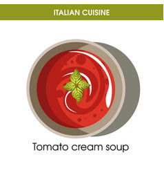 Italian cuisine tomato cream soup icon for vector