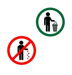 Keep clean icons do not litter sign vector