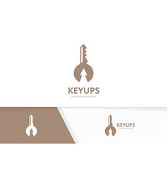 Key and arrow up logo combination lock and vector