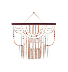 Macrame wall hanging on wood stick with beads vector